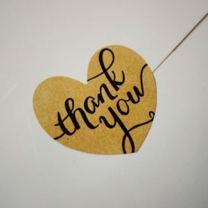 12 Autocollants coeur brun 'Thank You'
