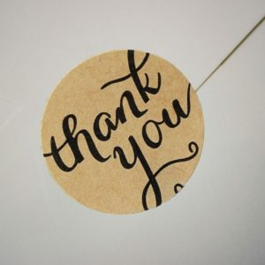 10 Autocollants rond brun 'Thank You'